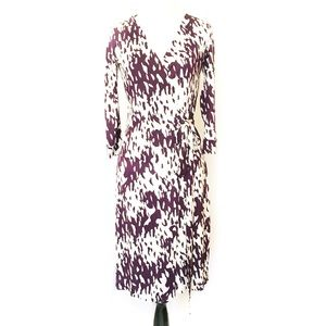 Diane Von Furstenberg Purple/White Silk Wrap Dress
